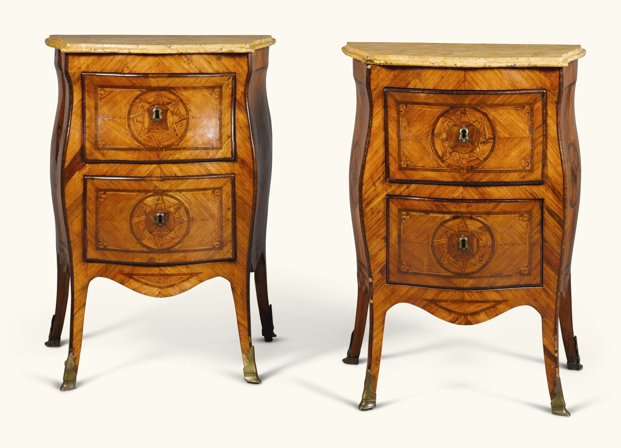 c1760 A pair of small Italian tulipwood, rosewood and