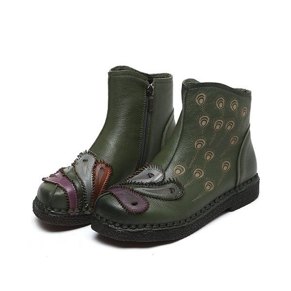 ebaa14bc6 SOCOFY Retro Handmade Feather Pattern Flat Leather Boots | SHOES ...