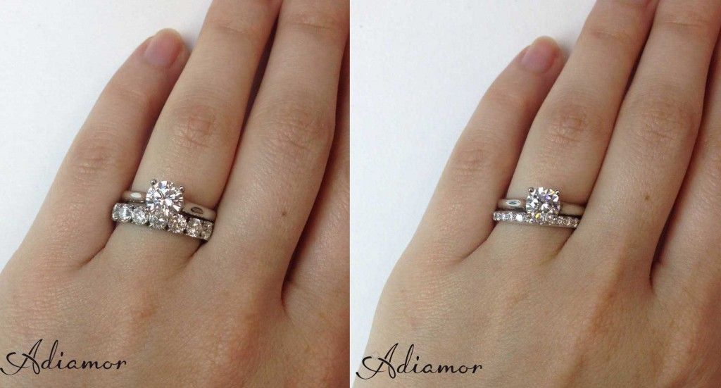 Solitaire Diamond Ring With 1 Cttw And 3 Cttw Eternity Bands Wedding Ring Bands Diamond Wedding Rings Sets Engagement Ring Wedding Band