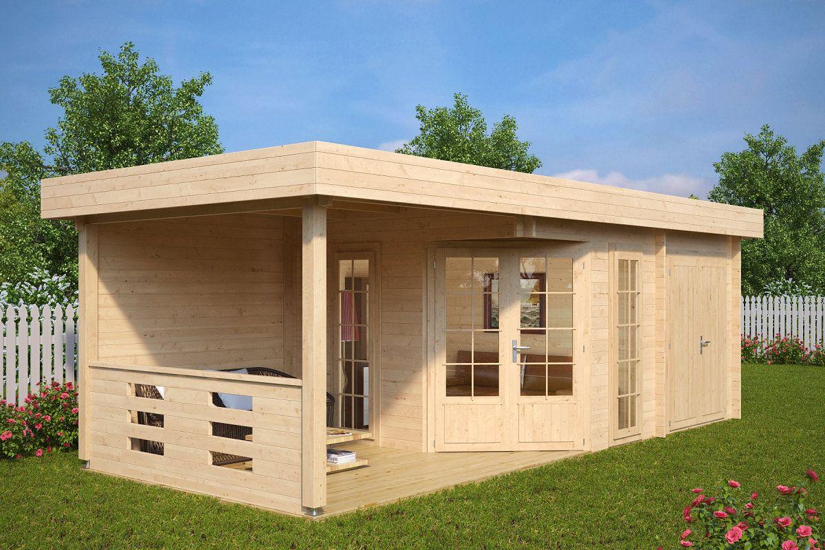Gartenhaus mit Geräteraum Paula 12,5m² / 40mm / 3x7 (с