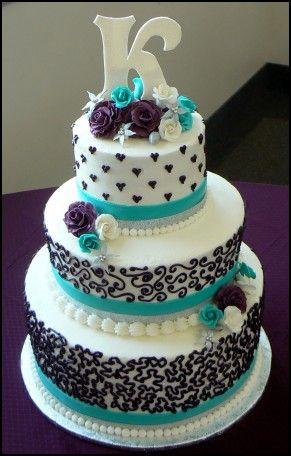 Turquoise And Purple Wedding Cakes Purple Wedding Cakes Cool