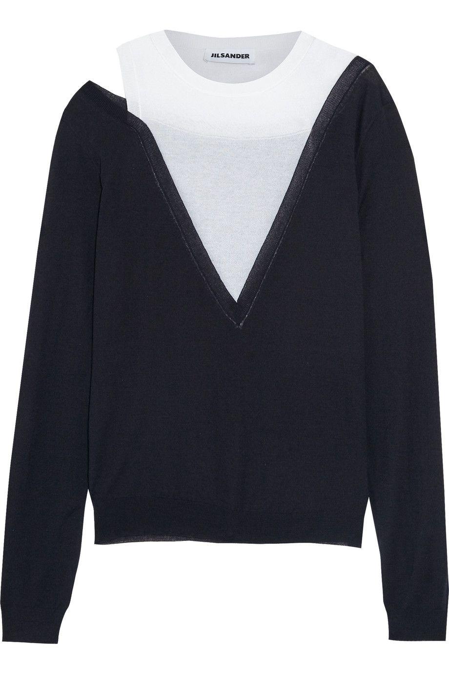 JIL SANDER Two-Tone Wool, Cotton And Silk Sweater. #jilsander ...