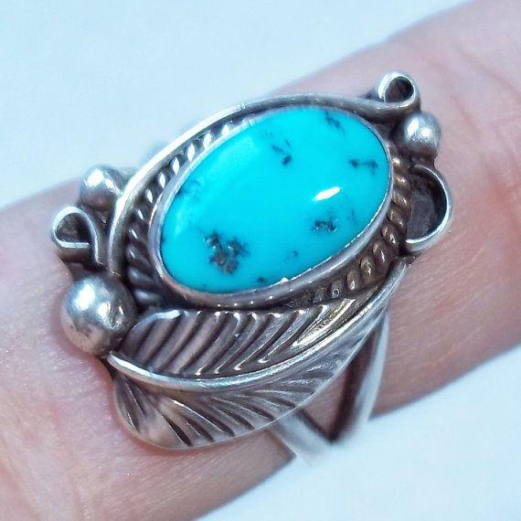 Vintage Navajo Artist Signed Sterling Silver / Turquoise Ring - Native American Silver - Southwestern Sterling - Size 6 - Leaf Design