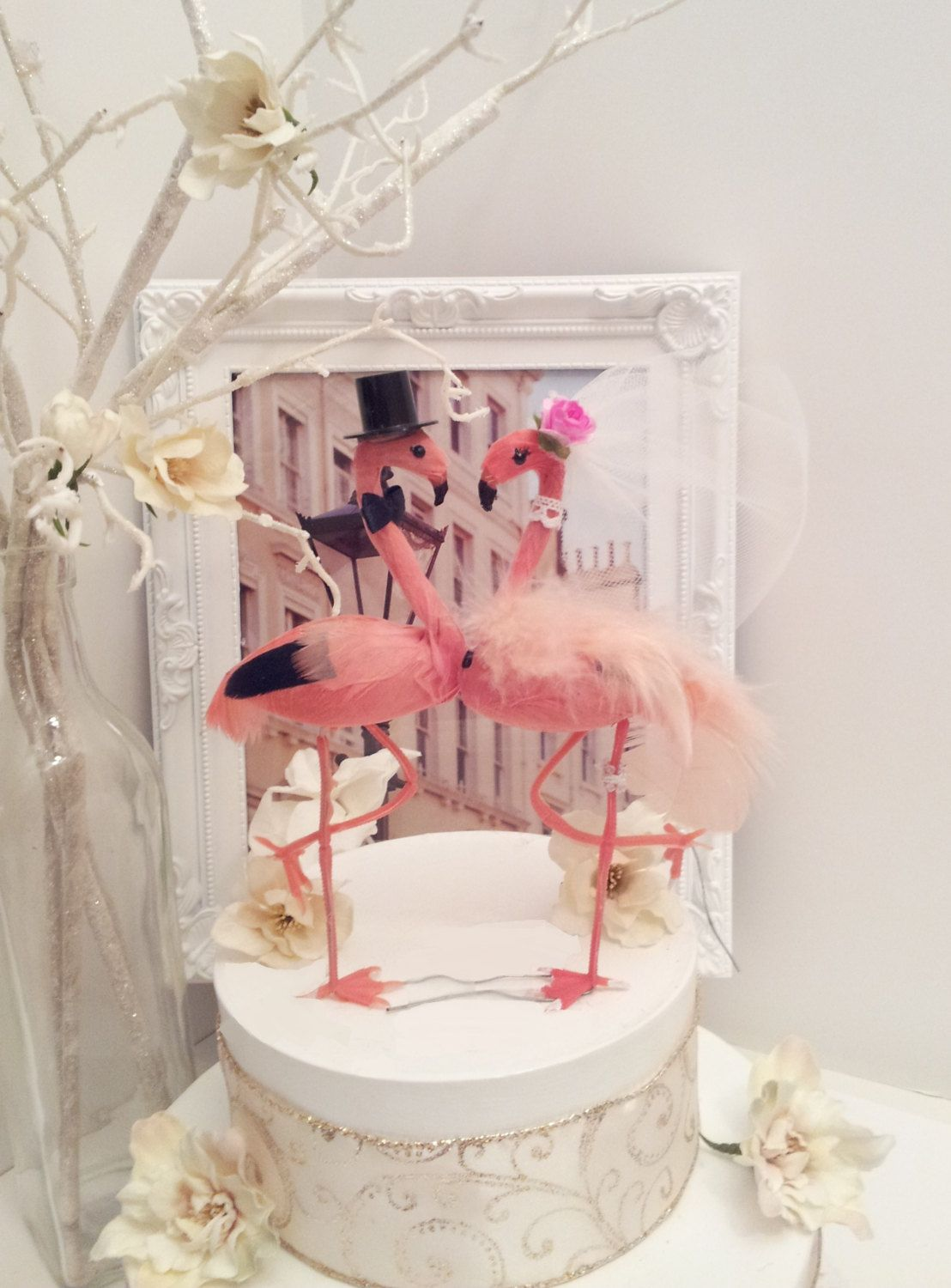 CHIC pink flamingo wedding cake topper flamand mariage tropical ...