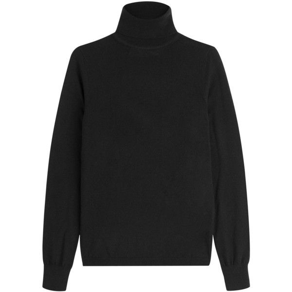 Victoria, Victoria Beckham Merino Wool Turtleneck (£230) ❤ liked on Polyvore featuring tops, sweaters, black, black turtleneck sweater, slimming tops, merino sweater, black top and turtleneck tops
