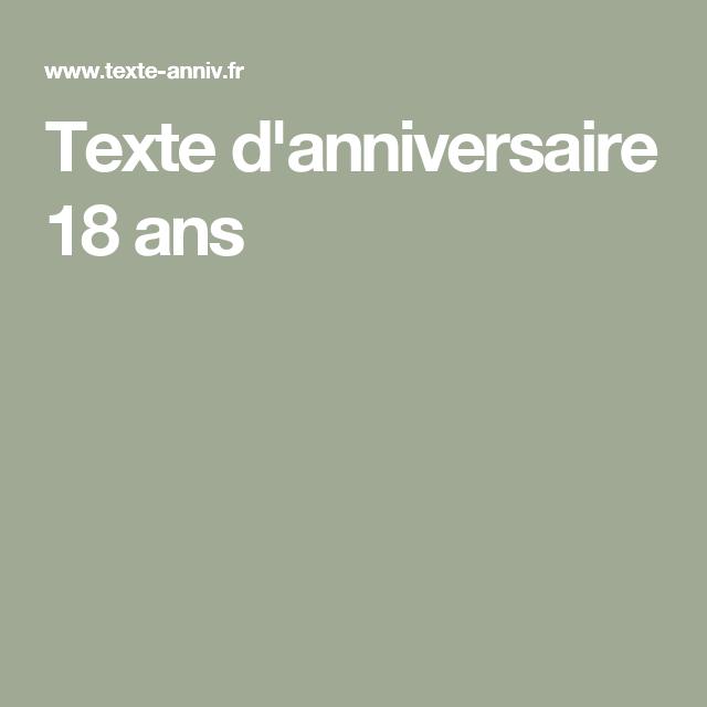 Texte D Anniversaire 18 Ans Messages Anniversaires Messages