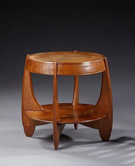 French Art Deco oak side table, 1930