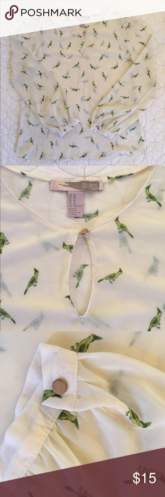 Forever 21 Blouse This top is for a bird lover definitely! So cute and original, and looks great with a pair of jeans or a skirt! Worn once, great condition! 🐤 Forever 21 Tops Blouses
