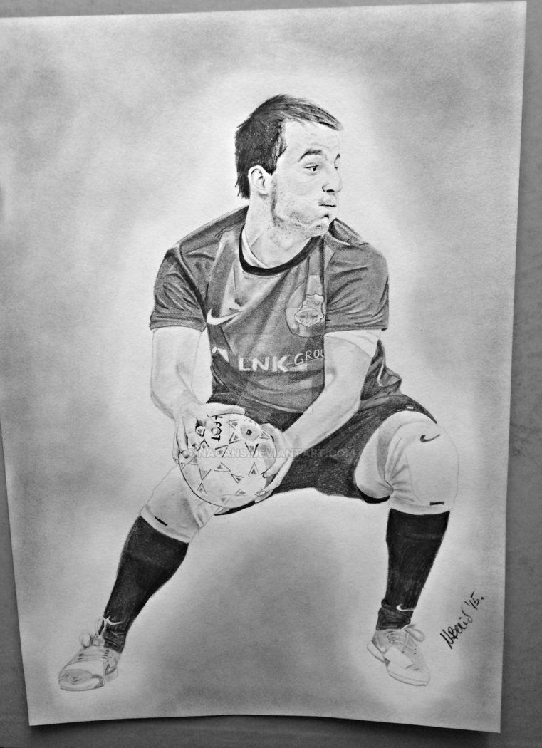 Handball player by nacans handball players pencil drawings hs sports graphite drawings