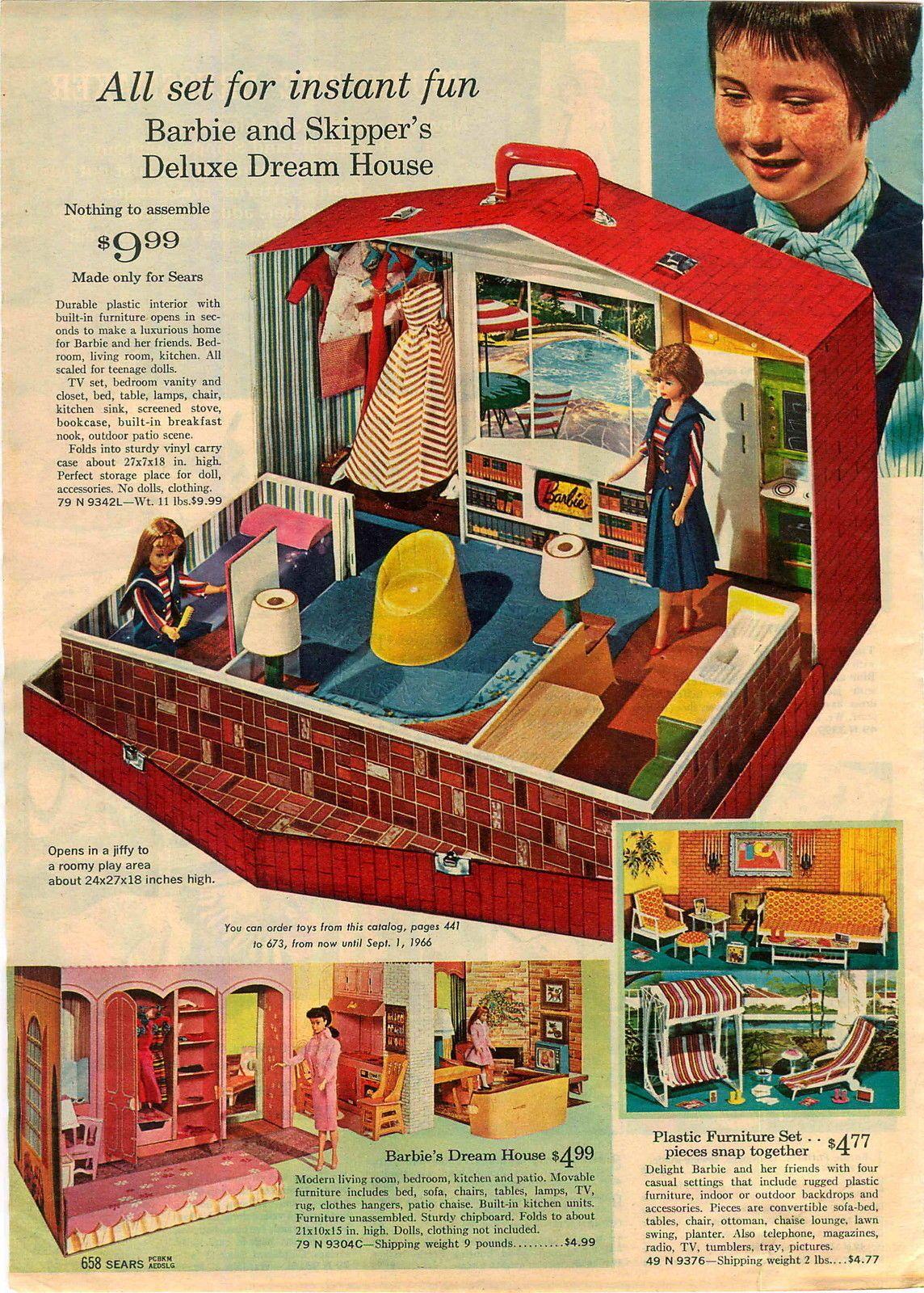 Barbie & Skipper's Deluxe House, Barbie's New Dream House and Go-Together Furniture from the Sears Christmas Catalog, 1965