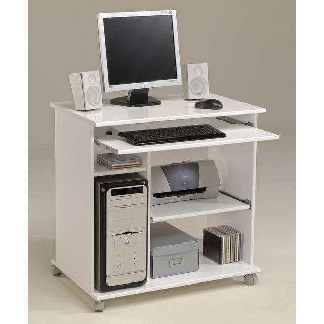 Bureau Informatique Sur Roulettes Bois Blanc Tavila Small Computer Desk Computer Desk White Desks