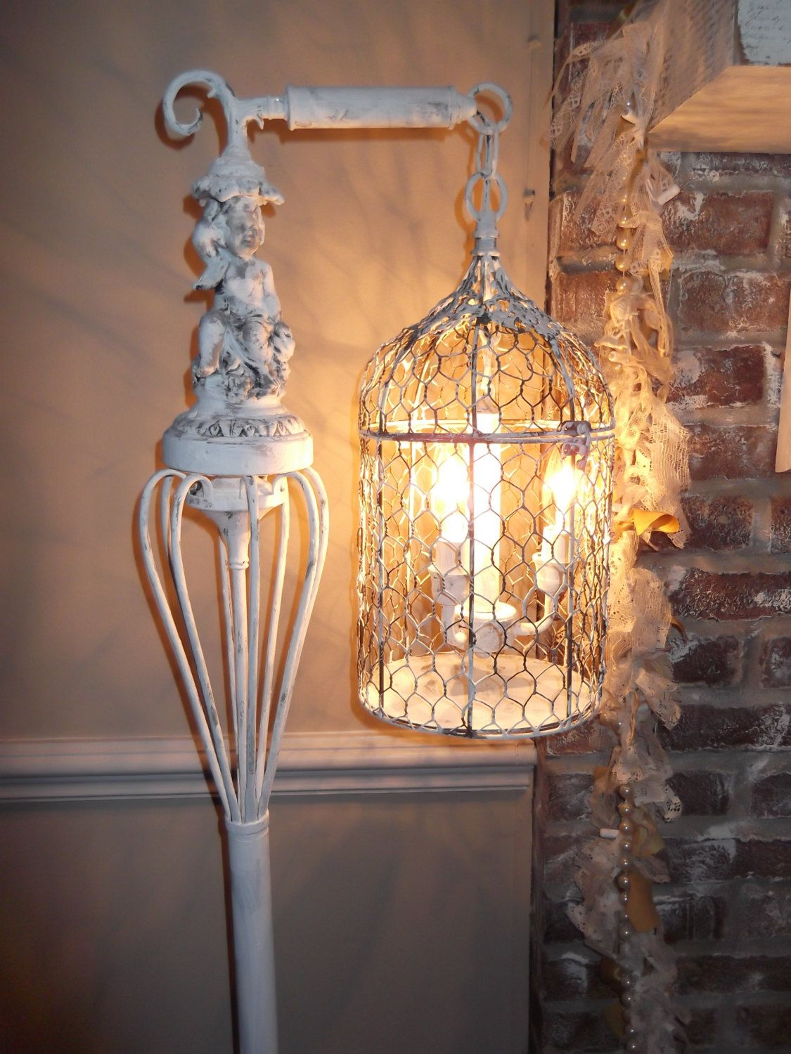 Bird cage chandelier floor lamp vintage chandelier bird cage light bird cage chandelier floor lamp vintage chandelier bird cage light shabby chic chandelier cherub nostalgic french arubaitofo Choice Image