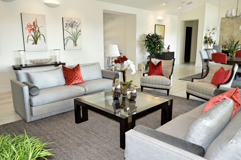 Contemporary Great Room with gray/silver and red accents!