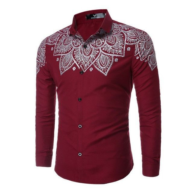 2017 Print T Shirt Men New Fashion Turn Down Collar Long Sleeve Floral Shirts Tops Plus Size S-2XL Casual Business Work T-Shirts