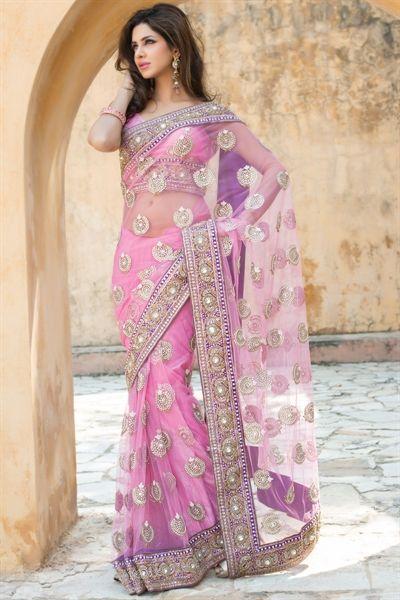 Designer New Saree Wedding Bollywood Indian Wear Embroidery Pearl Work Sari DN
