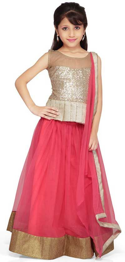 954c65cd71c8 Little Girls Kids Sharara Lehenga Choli 2015 Indian Designs Net Pink Dress