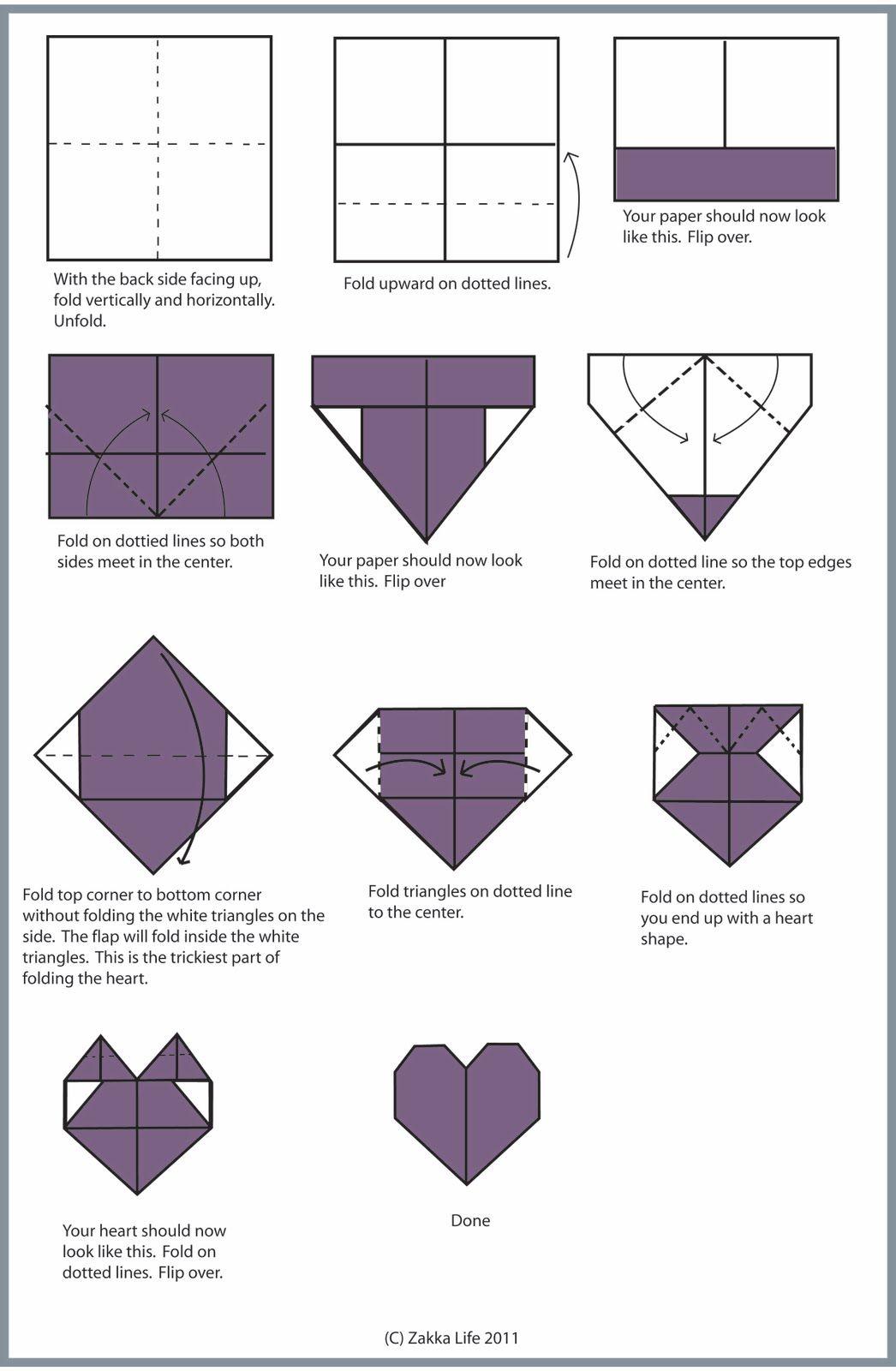 Zakka Life Craft Origami Heart Valentines Crafts Easy Diagrams