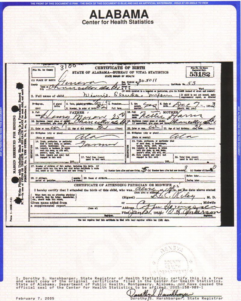 Winnieelendar mixon birth certificate provided by dwaynemixon of winnieelendar mixon birth certificate provided by dwaynemixon of fl aiddatafo Images