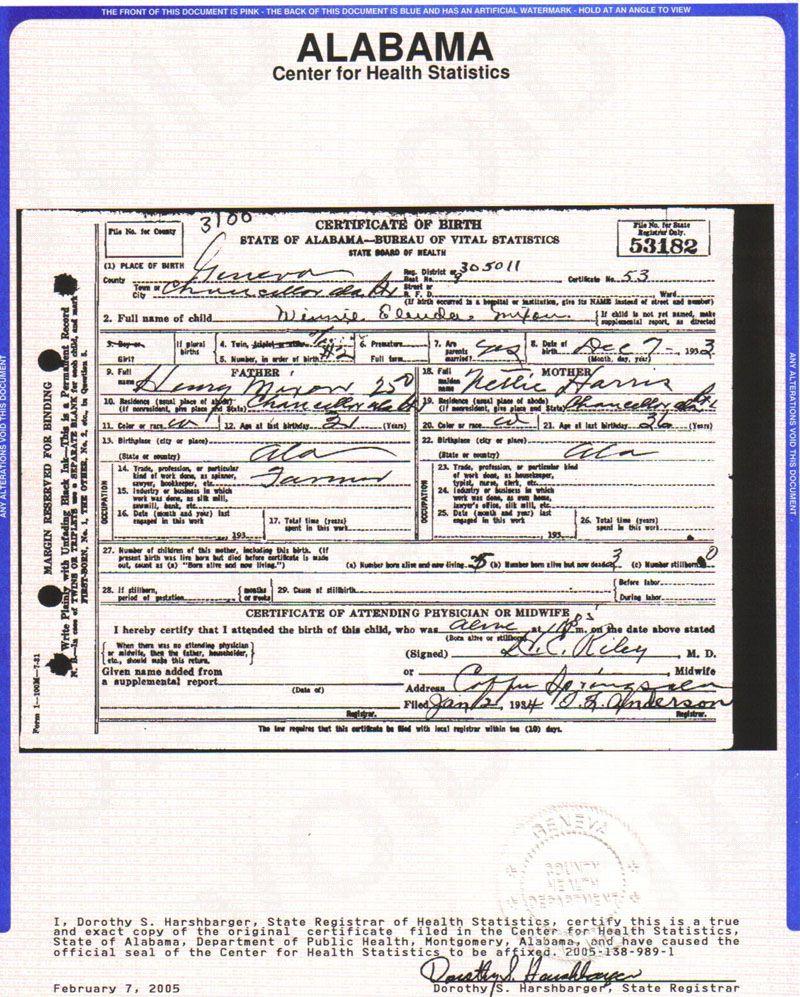 Winnieelendar Mixon Birth Certificate Provided By Dwaynemixon Of Fl