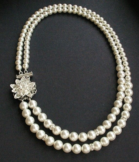Vintage Style Bridal Jewelry Wedding Necklace Pearl by luxedeluxe