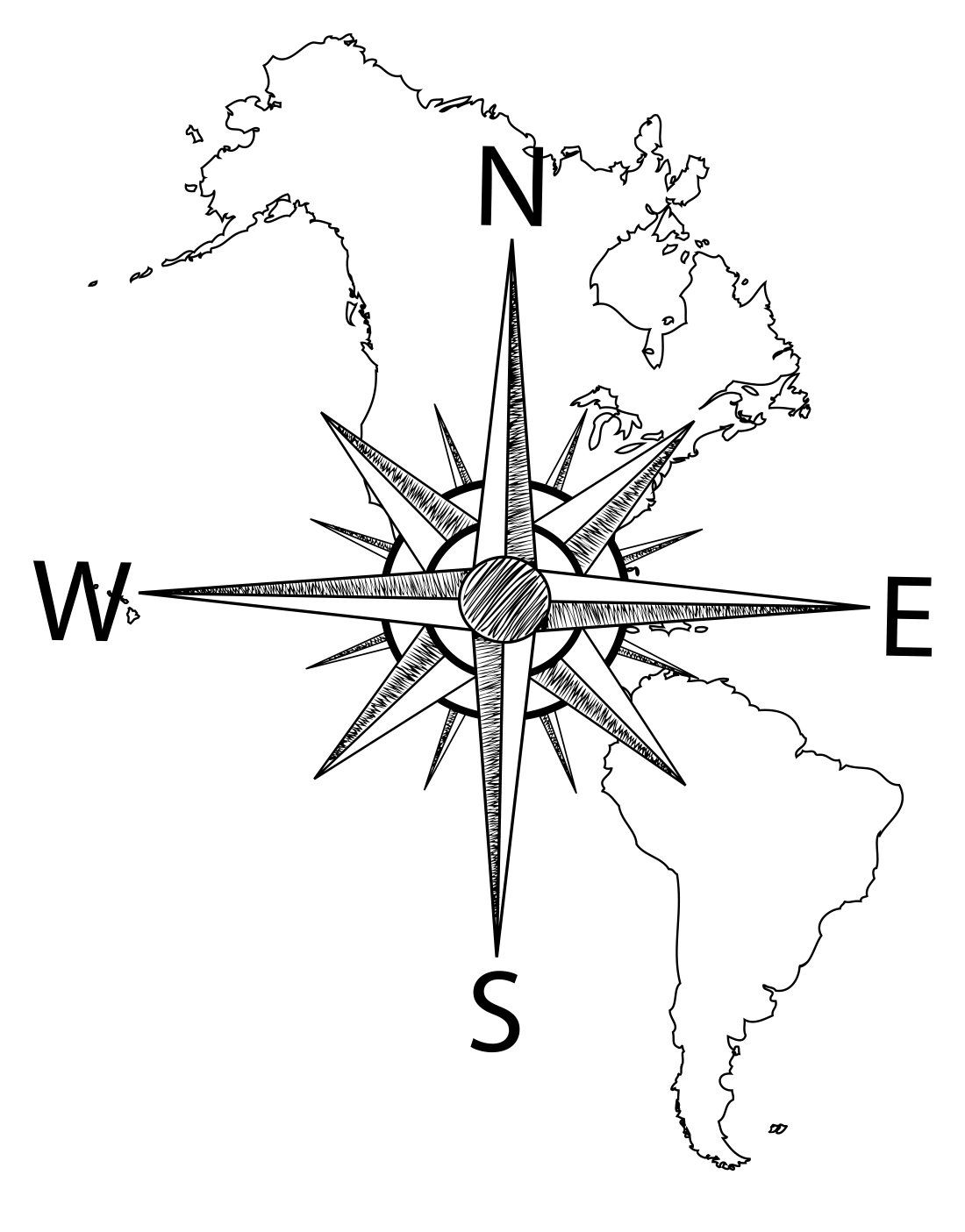America Map With Compass.Nautical Map Of North South America W Compass Vinyl Wall Decal