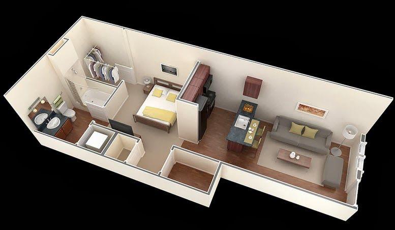 Departamentos peque os planos y dise o en 3d apartments for Departamentos pequenos minimalistas