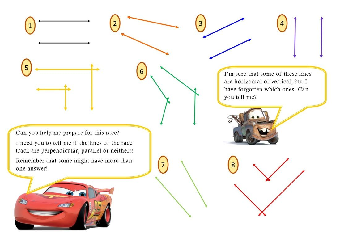worksheet Parallel Line Worksheets perpendicular and parallel lines lightning mcqueen maths mcqueen