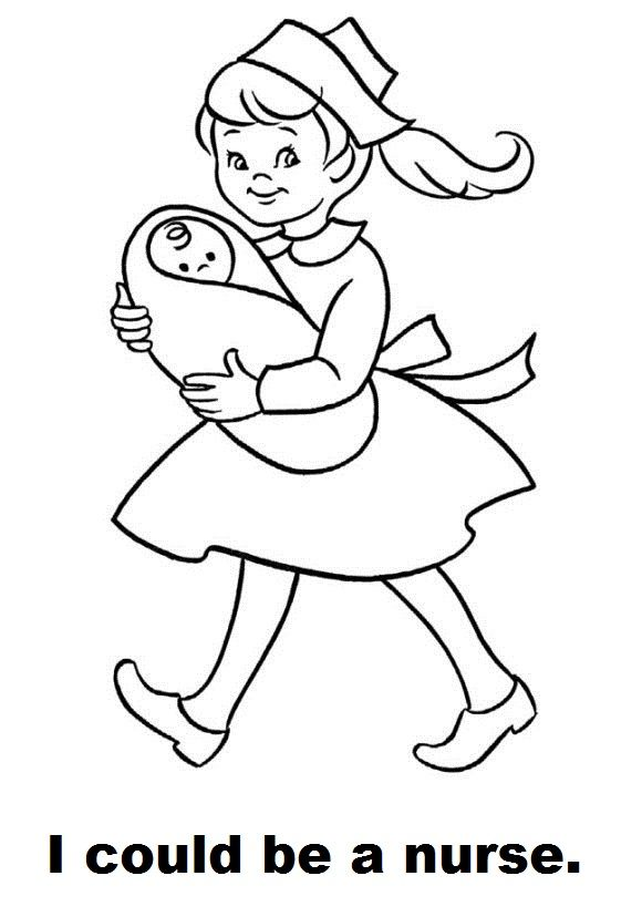 I Could Be A Nurse Coloring Page Baby Coloring Pages Coloring