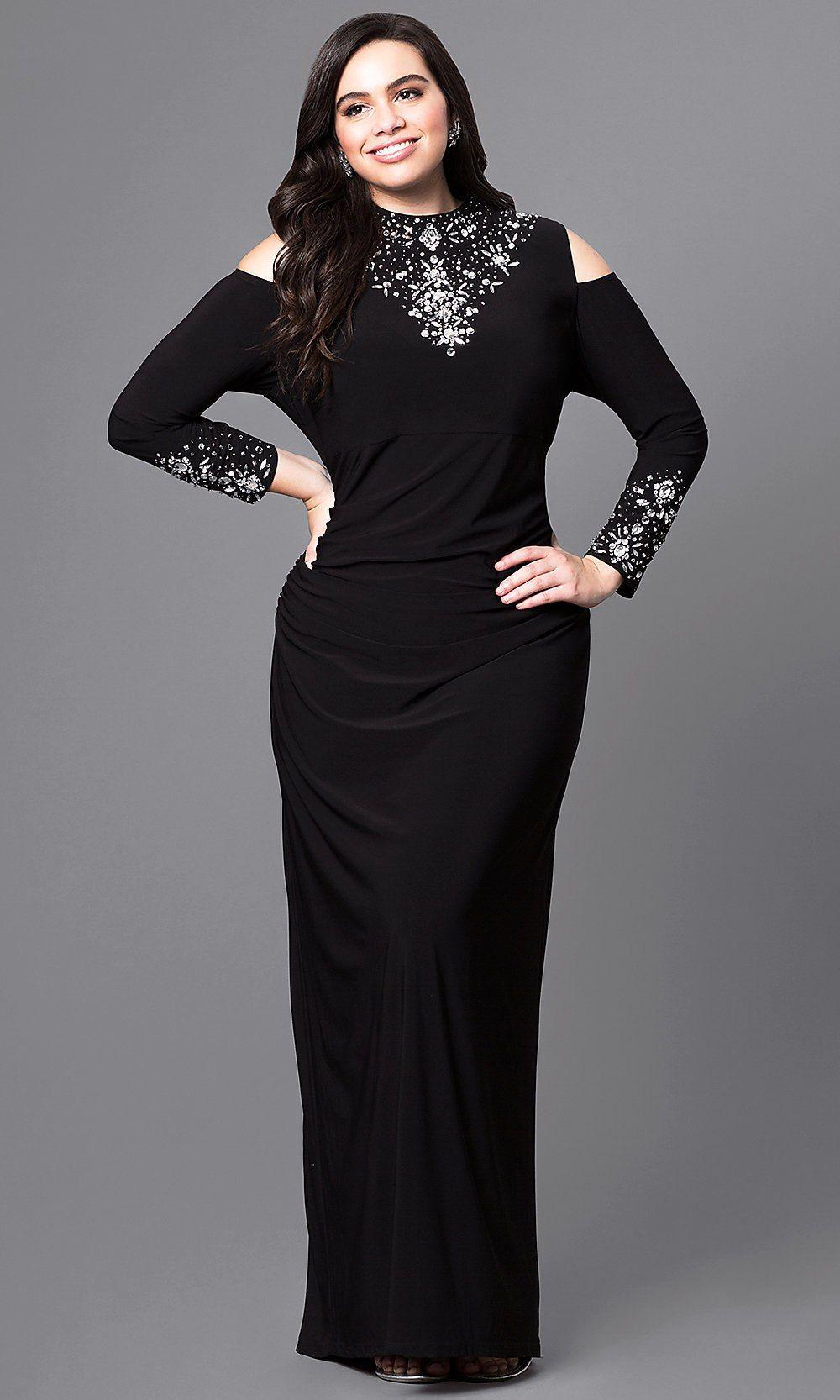 Coldshoulder long black formal dress in plus size in yhbk