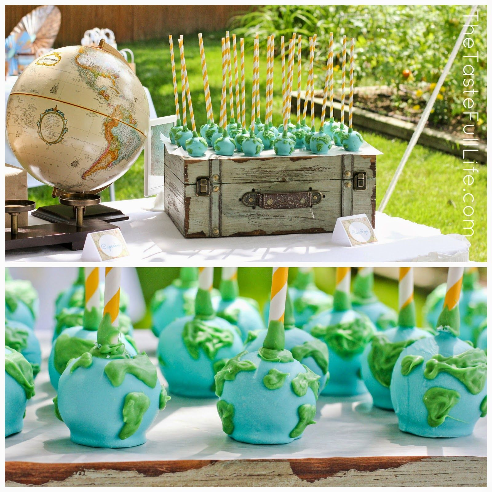 """Welcome Home Baby Party Decorations: Globe Cake Pops! Taste{Full}: My """"Welcome To The World"""