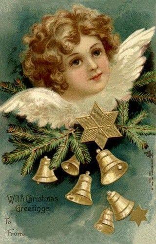 Carte ancienne de Noel | Anges de noël, Cartes postales de noël