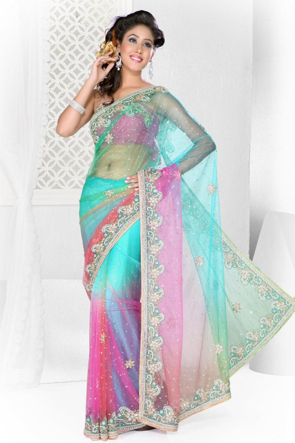 $193.7 Aqua Blue and Pink Crystal Work Party Wear Saree 22647 | Desi ...