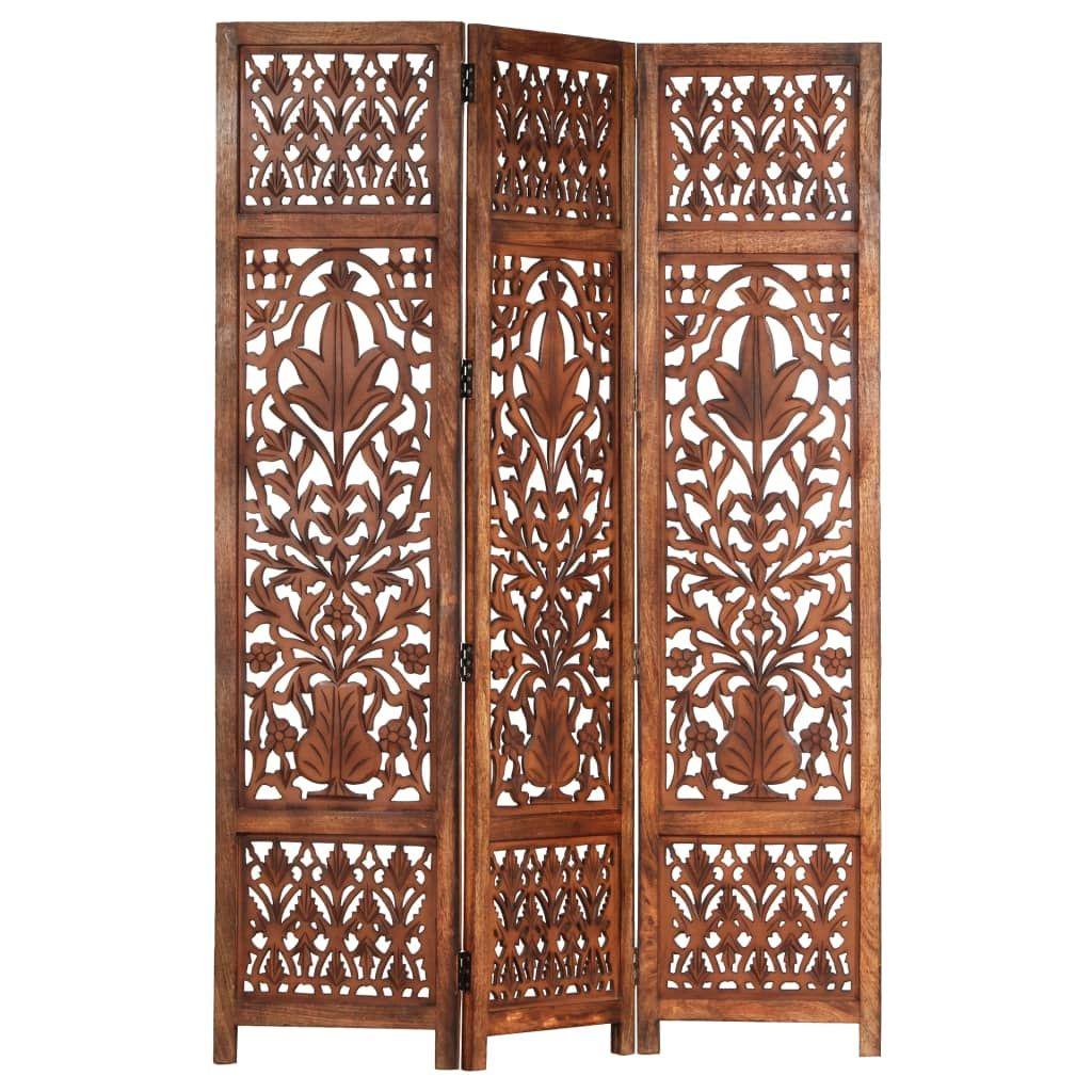 vidaXL Hand Carved 3-Panel Room Divider Brown 120x165 cm Solid Mango Wood - Brown