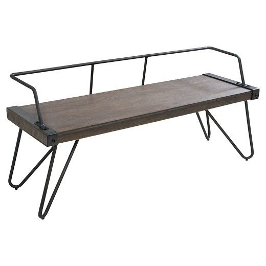 The innovative LumiSource Stefani bench features a wood seat ...