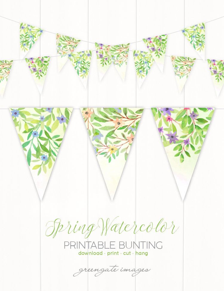 Instant Download Printable Vintage Floral Bunting DIY Party Decoration