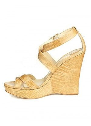 Apricot 5 1/10'' High Heel Sheepskin Ankle Strap Wedge Platform Fashion Sandals - Sandals - Shoes