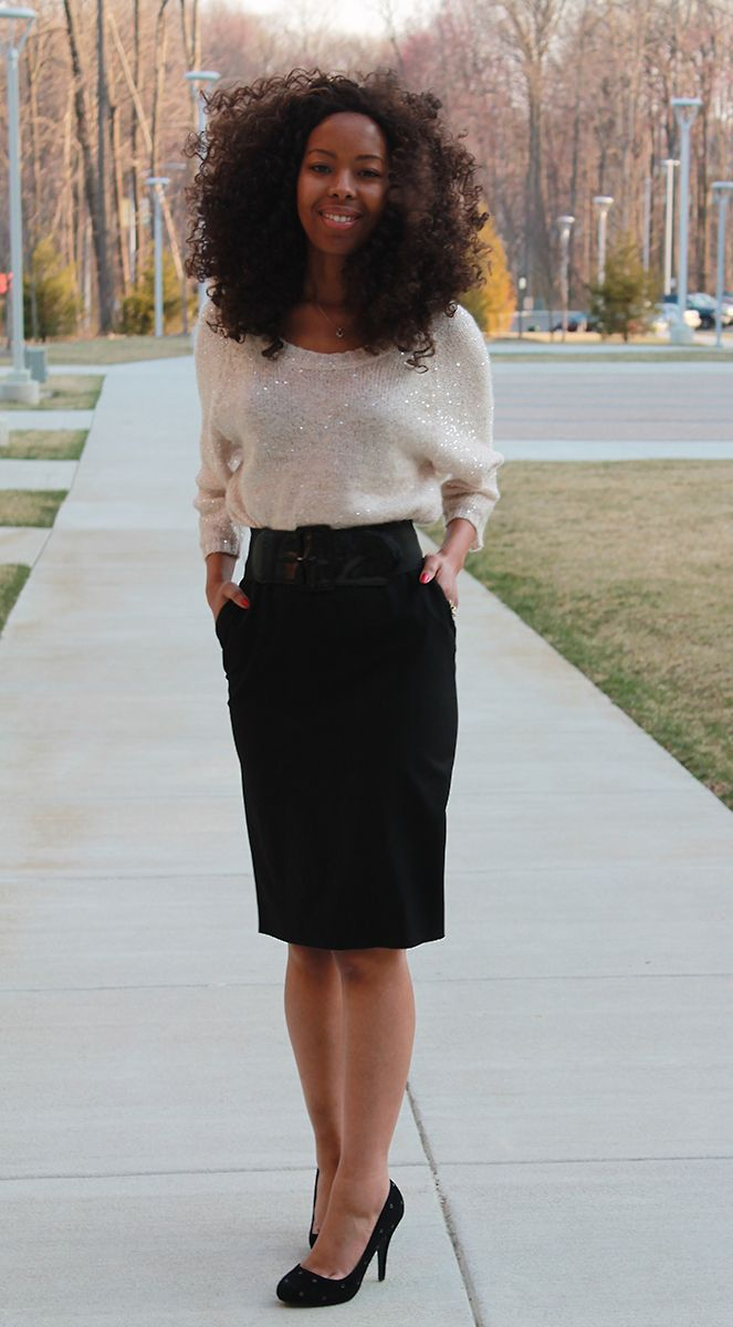 slouchy sweater and pencil skirt | style | Pinterest ...