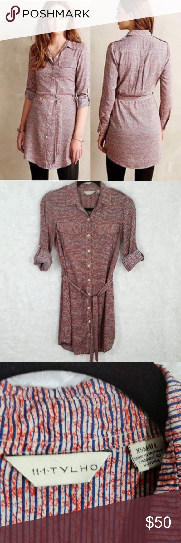 373623d84aa5 🎄Anthro 11-1-Tylho Button Up Striped Tunic Dress Hi Guys! i'm Selling this Anthropologie  11-1-TYLHO button down tunic dress! It's a size XS in great ...