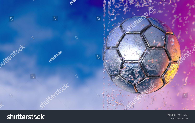 Download Metallic Silver Soccer Ball With Water Spiral Splash Under Blue Orange Sky 3d Illustration 3d High Quality Render Illustration Vector Illustration Orange Sky
