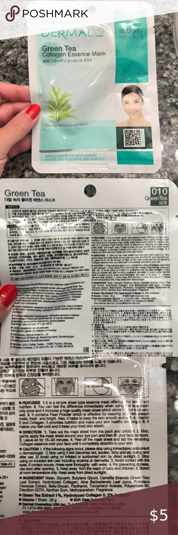 Photo of Green Tea face mask Dermal green tea collagen essence face mask. Bundle and save…