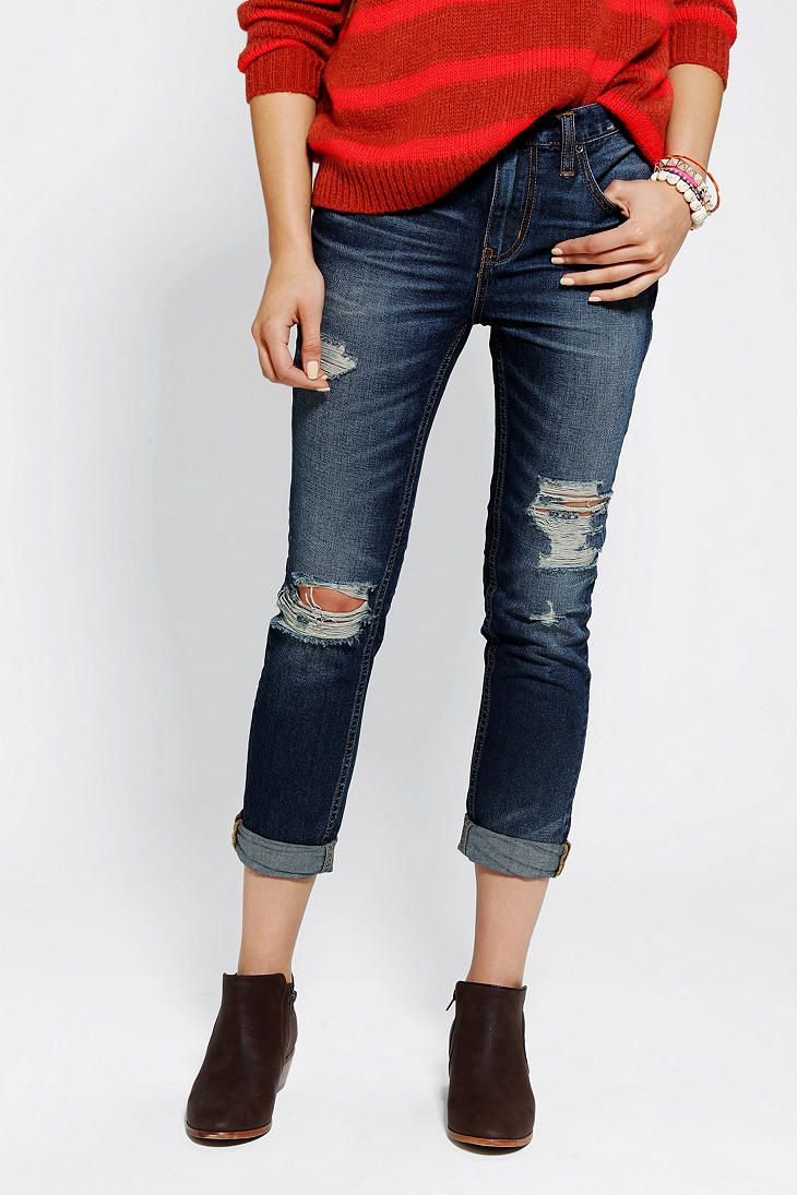 Fashion style How to skinny wear slouch jeans for girls