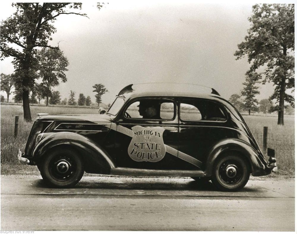 1937 Ford Police Cruiser Michigan State Police Car Vintage Ford ...