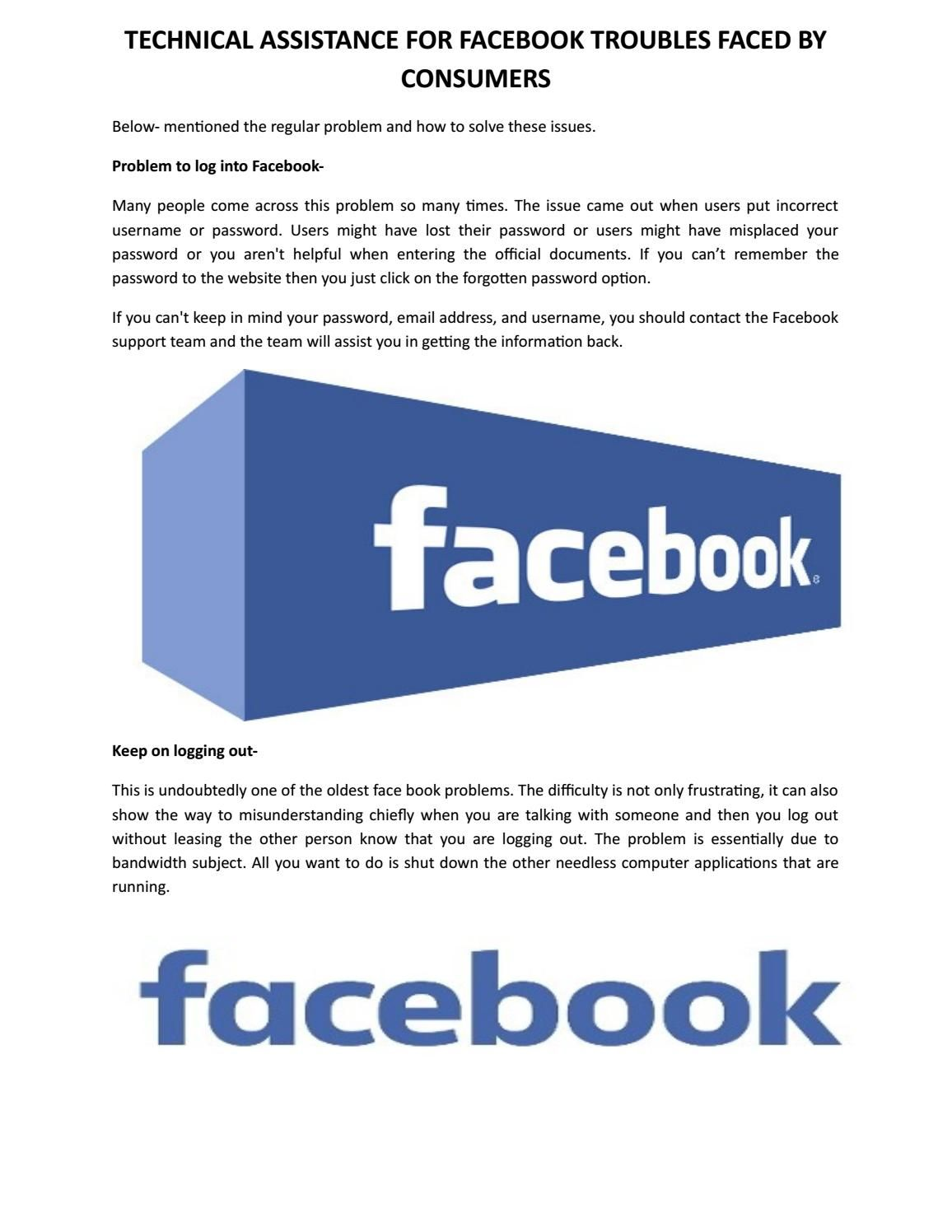 Technical assistance for facebook troubles faced by