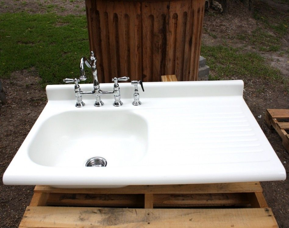 Genial Kitchen, : Charming Kitchen Decoration Idea Using White Porcelain Kitchen  Drainboard Farm Sinks Along With Vintage Chrome Kitchen Sink Faucets