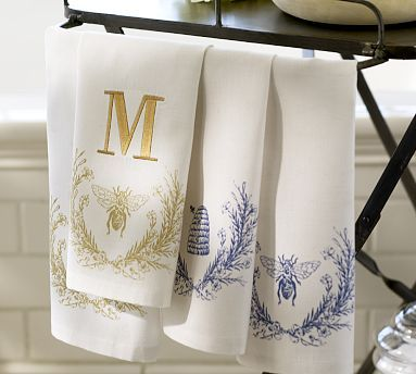Bee Guest Towels Set Of 2 Potterybarn Linen Guest