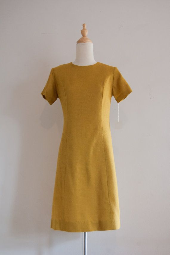 fd582326d43a 1960s Belk mustard sheath dress / vintage yellow day dress with ...