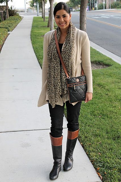 a0aed08a62dd Super cute two-toned boots and purse paired with an animal print scarf!