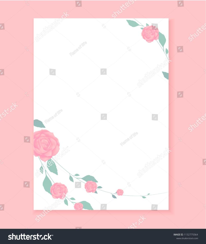 Love Letter Blank Template Rose Flower Stock Vector