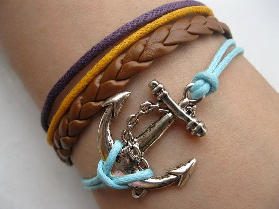 Anchorantique silver anchor braceletanchor wax by infinitywish, $5.99