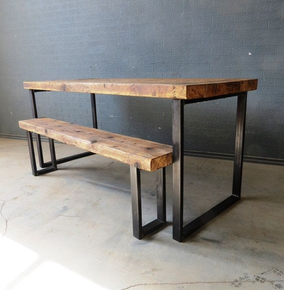 Reclaimed Industrial Chic Seater Solid Wood And Metal Dining Table Bar Cafe Restaurant Furniture Steel Made To Measure 385